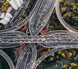 Arial shot of city highway interchange